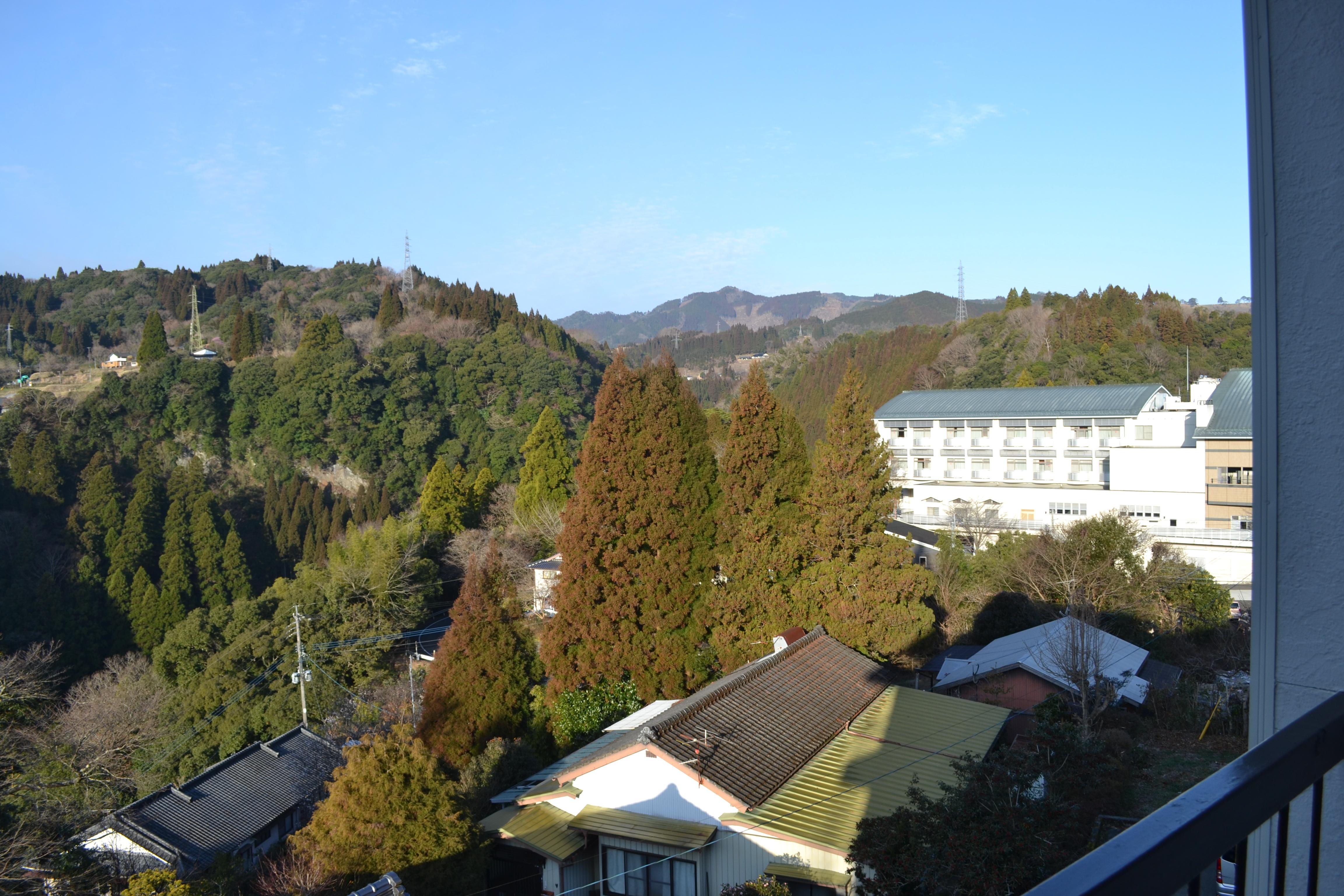 高千穂に着いて初めての朝を迎えた宿からの景色が綺麗だった。
